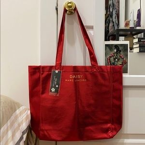 Marc jacobs sparkly tote bag red glitter metallic